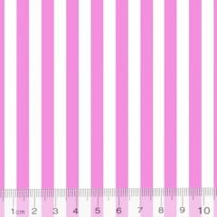 Tecido Percal 130 Fios Listrado - Rosa - 100% Algodão - Largura 2,45m