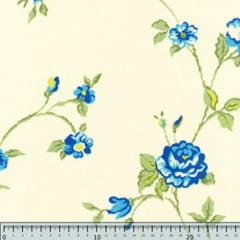 Tecido Percal 150 Fios Estampado - Silvestre - Azul Cor 2 - 100% Algodão - Largura 2,50m