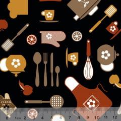 Tecido Tricoline Minha Cozinha - Preto - 100% Algodão - Largura 1,50m