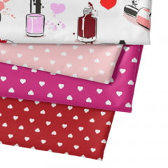 Kit Fat Quarter Especial - Esmaltes Love (4 Cortes de 50 cm x 75 cm)