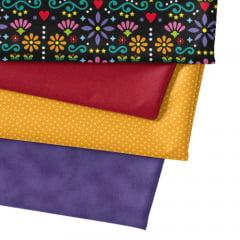 Kit Fat Quarter Especial - Floral Folk Fundo Preto (4 Cortes de 50 cm x 75 cm)
