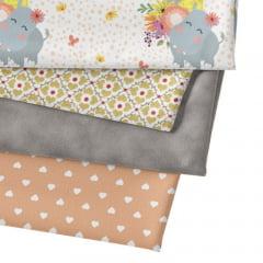 Kit Fat Quarter Especial - Flower Spring Hipo (4 Cortes de 50 cm x 75 cm)