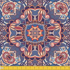 Tecido Tricoline Abstração Mosaico - Azul - 100% Algodão - Largura 1,50m