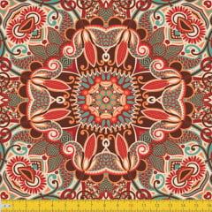 Tecido Tricoline Abstração Mosaico - Vermelho - 100% Algodão - Largura 1,50m
