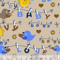 Tecido Tricoline Alg. Birds Baby Love Bege - 100% Algodão - Largura 1,45m