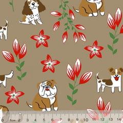 Tecido Tricoline Alg. Cães e Flores - Marrom - 100% Algodão - Largura 1,45m