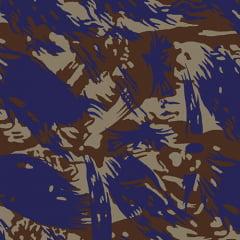 Tecido Tricoline Alg. Camuflado Rajado - Marrom - 100% Algodão - Largura 1,45m