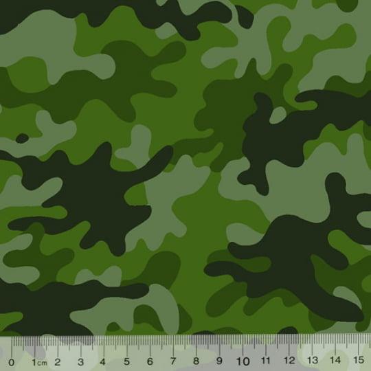 Tecido Tricoline Alg. Camuflado - Verde - 100% Algodão - Largura 1,45m