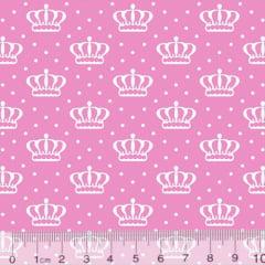 Tecido Tricoline Alg. Coroas Crown - Rosa Claro - 100% Algodão - Largura 1,45m