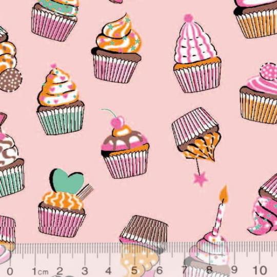 Tecido Tricoline Alg. Cupcakes - Rosa - 100% Algodão - Largura 1,45m
