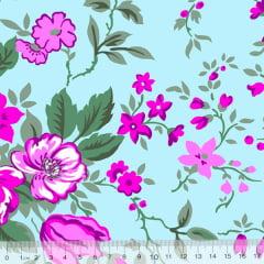 Tecido Tricoline Alg. Floral Grandiosa - Fundo Azul - 100% Algodão - Largura 1,45m