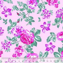 Tecido Tricoline Alg. Floral Lady - Rosa - 100% Algodão - Largura 1,45m
