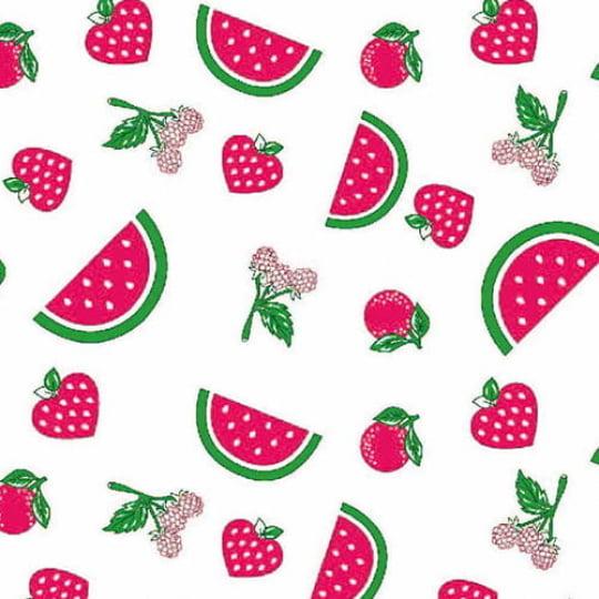 Tecido Tricoline Alg. Frutinhas Vermelhas - Fundo Branco - 100% Algodão - Largura 1,45m