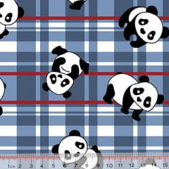 Tecido Tricoline Alg. Panda Xadrez - Azul - 100% Algodão - Largura 1,45m