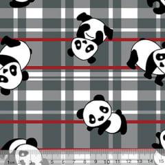 Tecido Tricoline Alg. Panda Xadrez - Cinza - 100% Algodão - Largura 1,45m