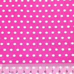 Tecido Tricoline Alg. Poá Bolinhas - Rosa Pink c/ Branco - 100% Algodão - Largura 1,45m