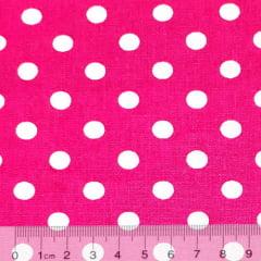 Tecido Tricoline Alg. Poá G - Rosa Pink c/ Branco - 100% Algodão - Largura 1,45m