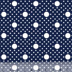 Tecido Tricoline Alg. Poá Tamanhos - Azul Marinho - 100% Algodão - Largura 1,45m