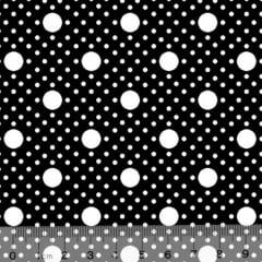 Tecido Tricoline Alg. Poá Tamanhos - Preto - 100% Algodão - Largura 1,45m