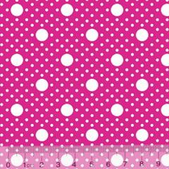 Tecido Tricoline Alg. Poá Tamanhos - Rosa Pink - 100% Algodão - Largura 1,45m