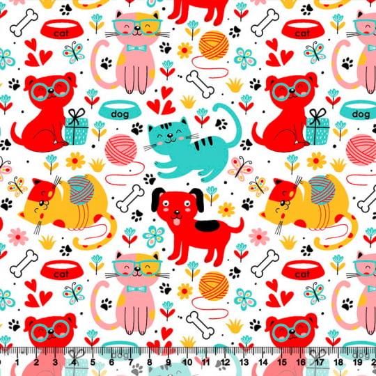 Tecido Tricoline Amigos Pets - Vermelho - 100% Algodão - Largura: 1,50m