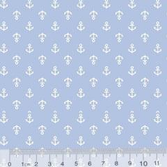 Tecido Tricoline Âncoras Mini - Fundo Azul Claro - 100% Algodão - Largura 1,50m