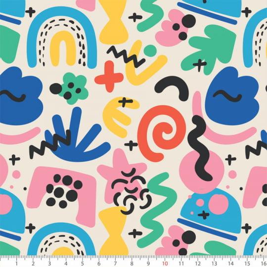 Tecido Tricoline Arte Pop Party - 100% Algodão - Largura: 1,50m
