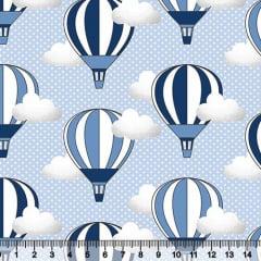 Tecido Tricoline Balões Azuis no Céu - 100% Algodão - Largura 1,50m