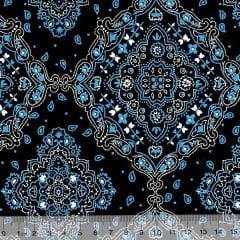 Tecido Tricoline Bandana - Preto c/ Azul - 100% Algodão - Largura 1,50m
