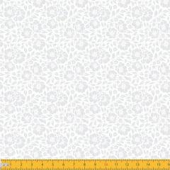 Tecido Tricoline Branco & Branco - Liberty - 100% Algodão - Largura: 1,50m