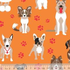 Tecido Tricoline Cães de Raça - Fundo Laranja