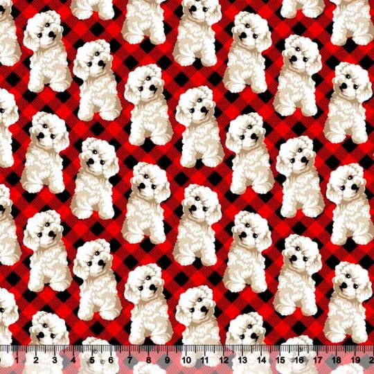 Tecido Tricoline Cãozinho Poodle - Vermelho - 100% Algodão - Largura: 1,50m