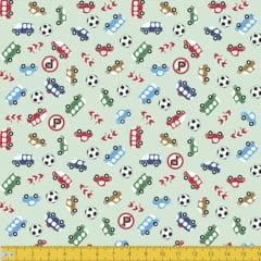 Tecido Tricoline Carrinhos Miniaturas - Verde - 100% Algodão - Largura: 1,50m