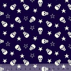Tecido Tricoline Caveirinhas e Estrelas - Azul Marinho - 100% Algodão - Largura: 1,50m