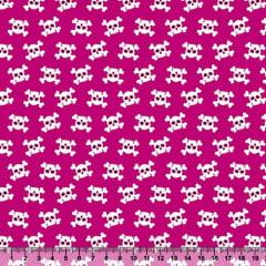 Tecido Tricoline Caveirinhas Rosa Pink - 100% Algodão - Largura 1,50m