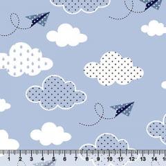 Tecido Tricoline Céu Paper Planes - Azul Claro - 100% Algodão - Largura 1,50m