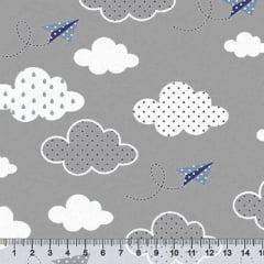Tecido Tricoline Céu Paper Planes - Cinza - 100% Algodão - Largura 1,50m