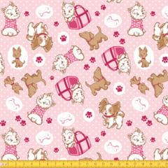 Tecido Tricoline Coisa de Cão - Rosa - 100% Algodão - Largura: 1,50m