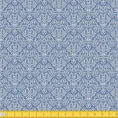 Tecido Tricoline Coleção Adamascado - Azul Antigo - 100% Algodão - Largura: 1,50m