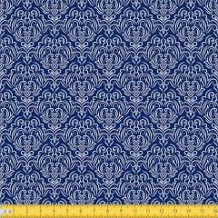 Tecido Tricoline Coleção Adamascado - Azul Marinho - 100% Algodão - Largura: 1,50m