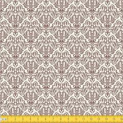 Tecido Tricoline Coleção Adamascado - Bege c/ Marrom - 100% Algodão - Largura: 1,50m