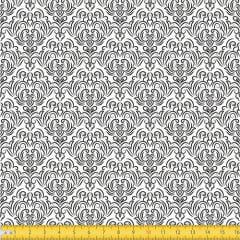 Tecido Tricoline Coleção Adamascado - Branco c/ Preto - 100% Algodão - Largura: 1,50m