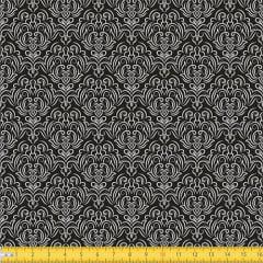 Tecido Tricoline Coleção Adamascado - Preto - 100% Algodão - Largura: 1,50m