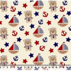 Tecido Tricoline Coleção Bebê Marinheiro - Ursinhos - Vermelho - 100% Algodão - Largura 1,50m