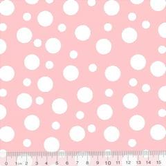 Tecido Tricoline Coleção Bolinhas Bubble - Rosa Claro - 100% Algodão - Largura 1,50m