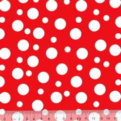 Tecido Tricoline Coleção Bolinhas Bubble - Vermelho - 100% Algodão - Largura 1,50m