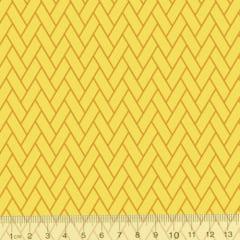 Tecido Tricoline Coleção Composê Ideal Amarelo - Tijolinhos - 100% Algodão - Largura 1,50m