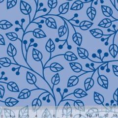 Tecido Tricoline Coleção Composê Ideal Azul Baby - Ramos - 100% Algodão - Largura 1,50m