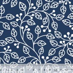 Tecido Tricoline Coleção Composê Ideal Azul Marinho - Ramos - 100% Algodão - Largura 1,50m