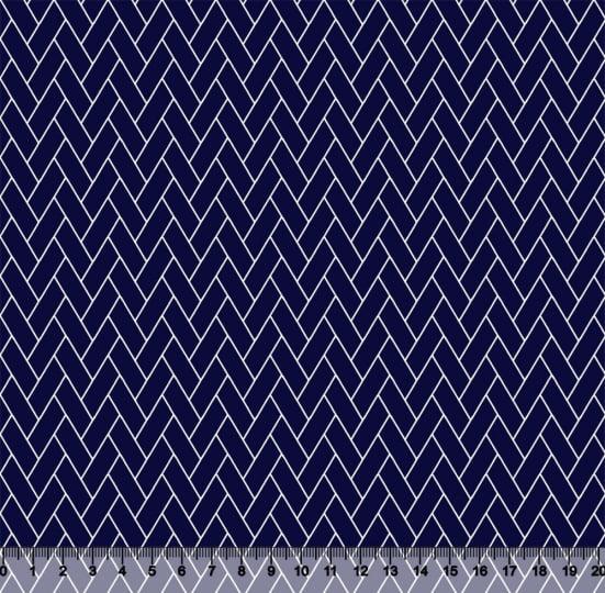 Tecido Tricoline Coleção Composê Ideal Azul Marinho - Tijolinhos - 100% Algodão - Largura 1,50m